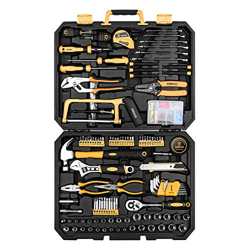 DEKOPRO 198 Piece Home Repair Tool Kit General Household Hand Tool Set with Wrench Plastic Toolbox
