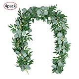 4 Packs 6.2 Feet Artificial Silver Dollar Eucalyptus Leaves Garland with Willow Vines Twigs Leaves String for Doorways Greenery Garland Table Runner Garland Indoor Outdoor.