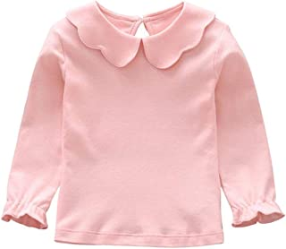 Noubeau Baby Girl Kids Blouses Long Sleeves Solid Color Doll Collar T-Shirt Top Bottom