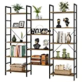 Triple Wide 5-Tier Bookcase, Large Industrial Bookshelf Wood Look Storage Display Shelves Organizer, Metal Bookcase Furniture, 68.5L x 11.8W x 68.1H