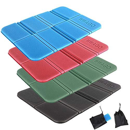 IWILCS 4 cojines de asiento impermeables y plegables, resistentes al agua, cojín térmico XPE para exterior, cojín plegable para exterior, jardín, camping, picnic, senderismo
