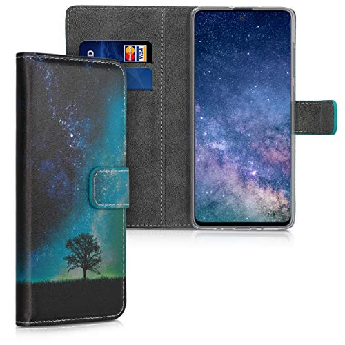kwmobile Carcasa Compatible con Samsung Galaxy A71 - Funda de Cuero sintético árbol y Estrellas - con Tarjetero