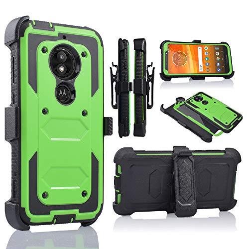 Moto E5 Play Case, Motorola E5 Cruise Holster Clip, Shockproof Heavy Duty Built-in Screen Protector w/Belt Clip Kickstand for Moto E5 Play (Green)