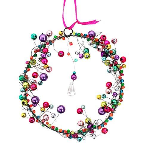 mitienda mit Liebe gemacht Fensterdeko Perlenkranz 12cm, Fensterschmuck bunt hängend, Kranz aus bunten Perlen
