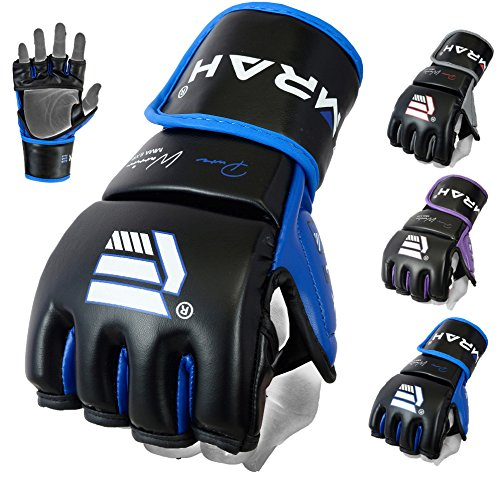 EMRAH Pro Style MMA Grappling Gloves Martial Arts Sparring Punching Bag Cage Fighting Maya Hide Leather Mitts UFC Training - X (Large, Blue)