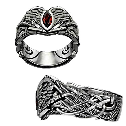 KFGJ The Valkyrie Ring, Vintage Anillos Punk gótico ,Berserker Ring Joyería pagana escandinava para Hombres y Mujeres 11 1Pcs