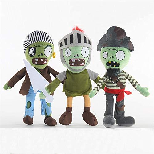 LZQ 식물 대 좀비 1 2PVZ 인형 봉제 장난감 어린이 및 게임 팬 GEART 선물 할로윈 크리스마스(세트 3 좀비)