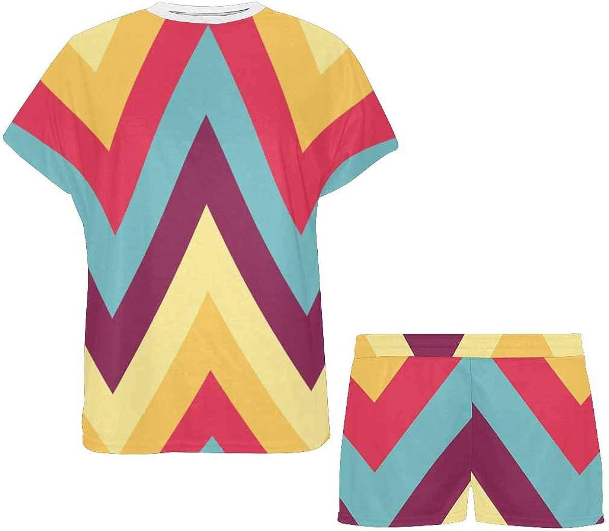 INTERESTPRINT Chevron Pattern Women's Pajamas Short Sets Round Neck Short Sleeve Sleepwear