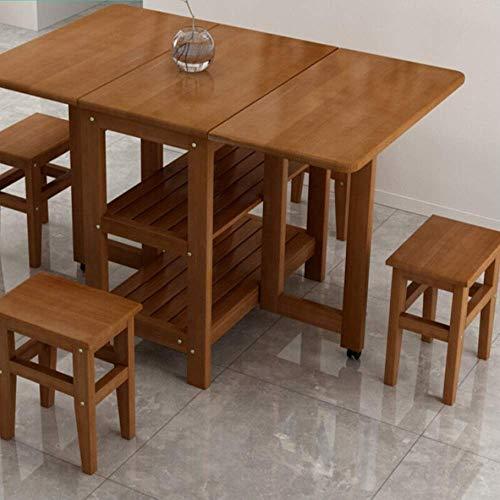 NBVCX Decoración de Muebles CuteLife Cocina Mesa de Comedor Mesa de Comedor Plegable con sillas Mesa Plegable Mesa multifunción Extensible Mesa Extensible (Color: Marrón Tamaño: 120x70x75cm)