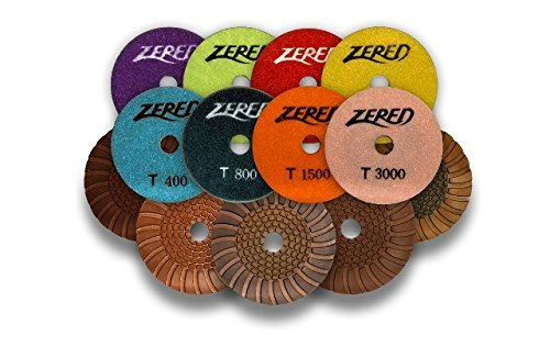 Big Save! ZERED 4 PP4-T Diamond Tornado Polishing Pad SET Wet Type Granite Tool (Full Set(8Pcs))