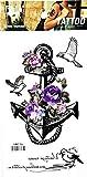 PARITA Tattoos Anchor Purple Flowers Rose Peace Dove Bird Fly Cartoon Art Fantasy Temporary Tattoo Fake Body Chest Shoulder Arm Leg Stickers Tattoos Fun Party Waterproof for Man Women (1 Sheet.) (14)