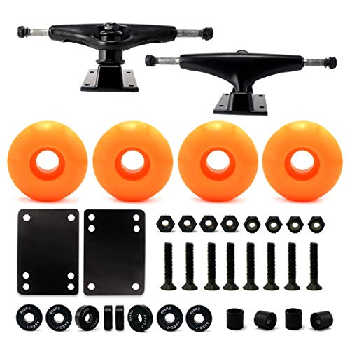 VJ 5,25 139 mm Skateboard-Achsen (schwarz), Skateboard-Räder, 52 mm, Skateboard-Kugellager, Skateboard-Pads, Skateboard-Hardware 3,2 cm (52 mm orange)