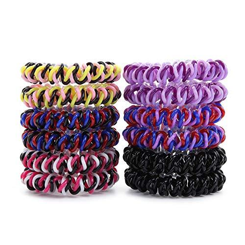 Hlnaughty 10Pcs Spiral Haargummis No Crease Elastische Pferdeschwanzhalter Telefonschnur Traceless Haargummis Für Frauen Dickes Haar Mix