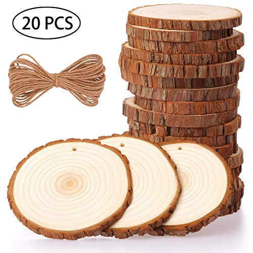 Healifty Wooden Heart Slice Round Shaped Wood Discs DIY Crafts Embellishments with 20 Ropes for Home Decoration 20Pcs