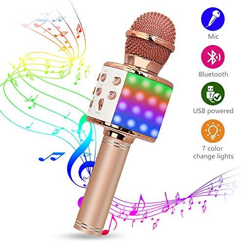 Karaoke Mikrofon, Drahtlose Bluetooth Mikrofon mit Tanzen LED Lichter, Tragbares Handmikrofon mit Lautsprecher und Aufnahme,Drahtlose Mikrofon Player für Erwachsene und Kinder (Roségold)