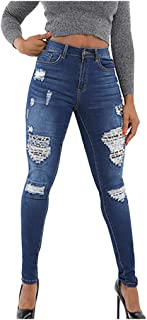 EDC Women High Waist Ripped Jeans Girl's Patchwork Leopard Hole Trouser Vintage Button Pants Leggings with Pocket