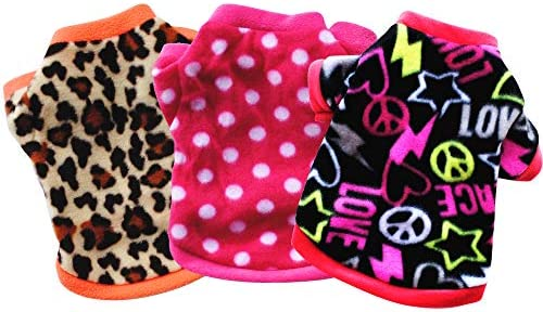 Yikeyo Set of 3 Winter Warm Fleece Sweater for Small Dog Girl Chihuahua Yorkies Tiny Puppy Clothes product image