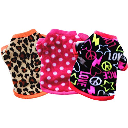 Yikeyo Set of 3 Female Puppy Shirt 3 Pieces xs,Yorkie XSmall Puppy Clothes,Clothes for Teacup Chihuahua Puppies Coats cat Clothes,Tiny Puppy Clothes Girl,xs Dog Sweater Girl Fleece