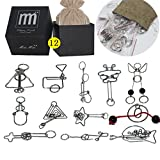 High Difficulty - 12 Pieces Metal Wire Brain Teaser - Assembly & Disentanglement Puzzles Toys - Magic Trick Toys Puzzles Set - Ideal Gifts Kids Adults (Set C)