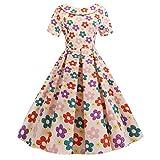 Abiti da Festa Abiti Vintage Abiti Altalena Abiti Elasticizzati Colletto con Bambola di Moda Vestito a Pois Stampato Indietro Bowknot Hepburn Vestito da Sera Donna (L,5- Rosa)