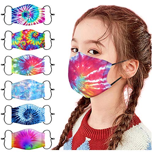 Gerichy 6PC Kids Face_Masks Fit Toddlers to Teens Reusable Washable Tie Dye Print Adjustable Breathable Children Face Coverings for Boys Girls Back to School Supplies Daily Use