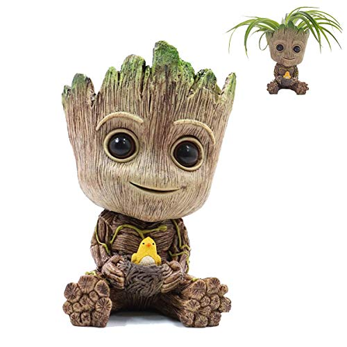 AMZSTORE Baby Groot Flowerpot Model Succulent Planter Pot Cute Model Toy Pens Holder with Drainage Hole Best Gift for Kids,...