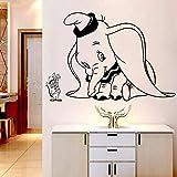 Cartoon Wandaufkleber niedliche Fliege Elefant kleine Maus Ohrflügel Tier Schlafzimmer Kinderzimmer Hauptdekoration Tür Vinyl Aufkleber Kunst Wandbild Baby Geschenk