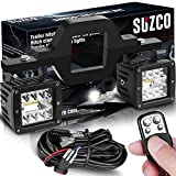 SUZCO 3' Tow Hitch LED Light Mounting Bracket Clamps Holder Kits【UPGRADED 12FT】Wiring Harness with Keychain Remote for Dual Receiver Backup Lights + 2-Pack 3' LED Pod Reverse Driving Work Lights