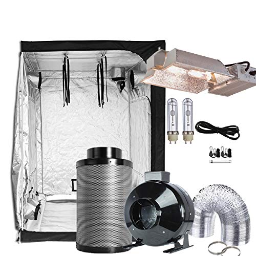 """TopoGrow 630W CMH Grow Light Complete Kit System W/Enclosed Light Hood +Indoor 60""""X60""""X80""""Grow Tent+ 6"""" Carbon Air Filter Inline Fan Clips Combo (630W CMH Enclosed Kit60""""X60""""X80""""+6"""" Combo)"""