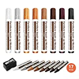 17PCS Furniture Repair Kits Wood Repair Markers Touch Up Repair Pen,Scratch Repair Kit,Markers and Wax Sticks,Remover for Stains,Scratches,Wood Floors,Tables,Carpenters,Bedposts