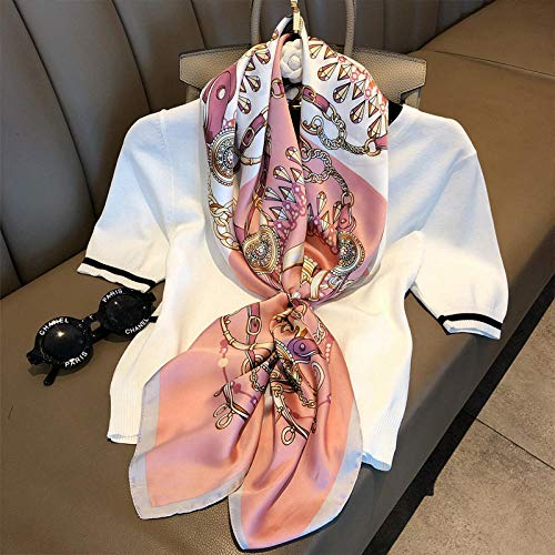 ZAMi Bufanda pequeña Mujer Salvaje Gran Toalla Cuadrada Tomando Traje Primavera y otoño Invierno Modelos Moda Madre Bufanda Chal-Rosa