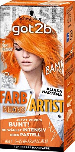 Schwarzkopf Got2b Farb/Artist Haarfarbe, 108 Neon Orange, 1er Pack (1 x 80 ml)