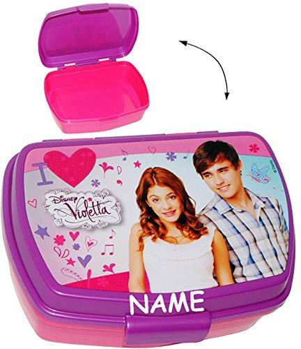 alles-meine.de GmbH Lunchbox / Brotdose -  Disney Violetta  - incl. Name - Sandwich Box - Brotbüchse Küche Essen - für Mädchen Martina Stoessel - Channel Schauspielerin - Sänge..