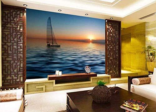 Tapete 3D Mittelmeer Segeln Sonnenuntergang Moderne Wohnzimmer Schlafzimmer Großes Wandbild Wanddekoration-400cmx280cm / aufkleber/leinwand/foto poster/HD druck/benutzerdefinierte wand