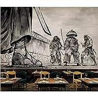 カスタム装飾壁画 カスタム壁画3D紙大きな壁画新しい中国風手描きの黒と白の戦士の決闘ツーリング背景壁