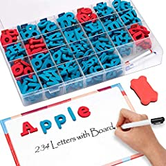 Ample Letters Set: The sturdy storage box contains 234 letters, among which are 182 lowercase letters, 52 uppercase letters, double-sided magnetic writing board ×1 (11.3*7.9inch), whiteboard pen ×3 ,eraser ×1 . It completely satisfied the spelling ne...