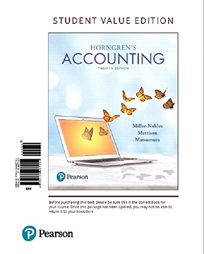 Horngren's Accounting, Student Value Edition (12th Edition)