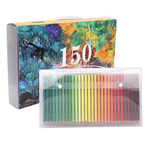 150 lápices de acuarela profesionales, lápices de acuarela con carta de colores, suministros de arte de escritura brillantes, numerados, solubles en agua, coloreados, para adultos y niños
