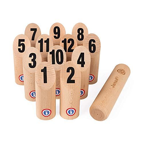 Janod J03024 28 Holzkegel Spiel für draußen und im Freien-Geschicklichkeitsspiel Ab 5 Jahren