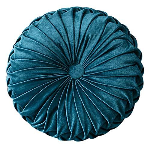 TOOGOO Runder Boden Samt KüRbis Plissee Kissen Hocker Abdeckung Deko Kissen Haus Sofa Matte (Marine Blau)