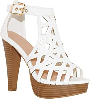 TRENDSup Collection Open Toe Ankle Strap Sandal - Western Bootie Stacked Heel Open Toe Cutout Shoes