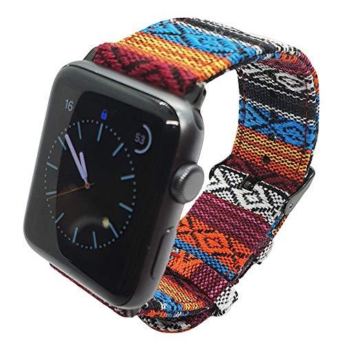 Max Tribal - Cinturino in tessuto compatibile con Apple Watch, 38 mm, 42 mm, 40 mm, 44 mm, per iWatch Series 4 3 2 1, fibbia e alette in acciaio inox