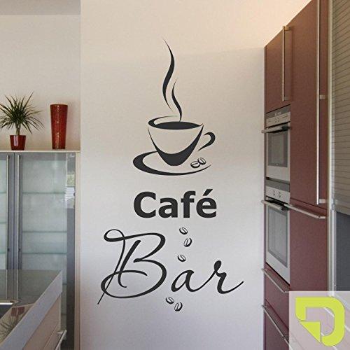 DESIGNSCAPE® Wandtattoo Café Bar mit dampfender Kaffeetasse und Kaffeebohnen 22 x 40 cm (Breite x Höhe) hellgrün DW803088-S-F87