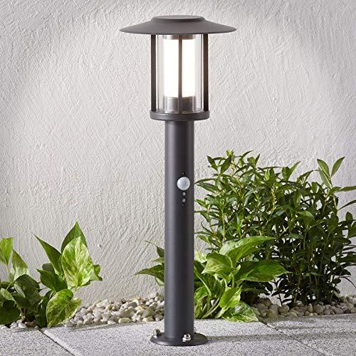 Lindby LED Außenleuchte 'Gregory' mit Bewegungsmelder (spritzwassergeschützt) (Modern) in Schwarz aus Edelstahl (A+, inkl. Leuchtmittel) - Wegeleuchte, Pollerleuchte, Wegelampe, Sockelleuchte