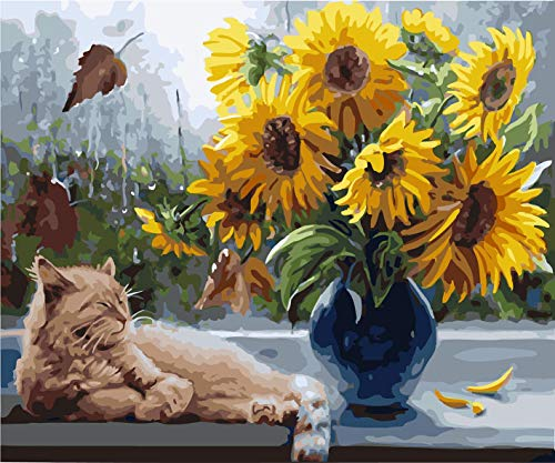DoMyArt Acrylic Paint by Number Kit On Canvas for Adults Beginner - Sunflower and Cat 16X20 Inch