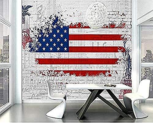 Papel pintado 3D de seda, diseño retro de la bandera de Estados Unidos, fondo de graffiti, pared de salón, dormitorio, tv, Seda, 250cmx175cm(98.4x68.9inch)