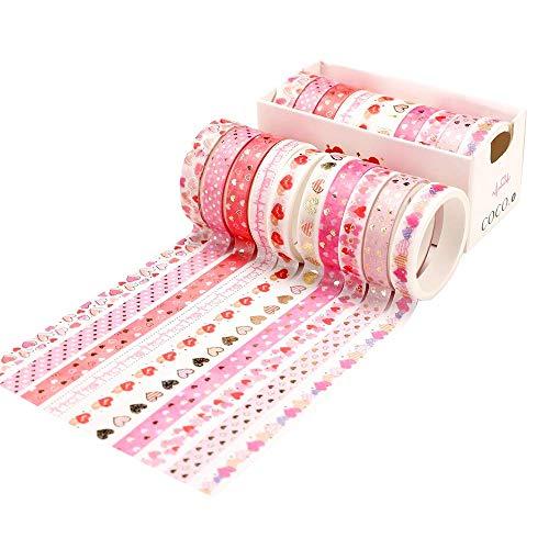 WENYECHEN 10 Rollen Washi Tape Set Deko Klebeband Bunt Vintage Washitape Glitzer Klebeband DIY Papier Tape für Scrapbooking Handgemachte Kunst Büropartyzubehör (Rosa)