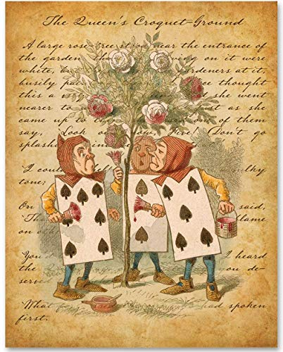 The Cards Painting the Roses - 11x14 Unframed Alice in Wonderland Print - Great Gift for Lewis Carroll Fans and Nursery and Children's Room Decor Under $15