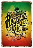 MIFSOIAVV Vendimia Cartel de Chapa metálica Cartel Verde Rasta Reggae Ritmo Mi alma Escrito a mano Motivador Abstracto Rojo Jamaica Música vintage Placa Póster,Pared de Hierro Retro 20x30cm