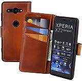 Suncase Book-Style kompatibel für Sony Xperia XZ2 Compact Hülle (Slim-Fit) Leder Tasche Handytasche Schutzhülle Hülle (mit Standfunktion & Kartenfach - Bruchfester Innenschale) in Burned - Cognac